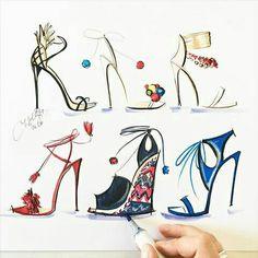 It was lovely meeting designer Edgardo Osorio of @aquazzura last night at @saks_boston . Filled with inspiration and shoe lust! #fashionsketch #fashionillustration #fashionillustrator #boston #bostonblogger #bostonillustrator #copic #copicmarkers #copicart #hnicholsillustration #saks #aquazzura #heels #saksfifthavenue