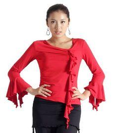 "SCT1054RD33 (Bust 40""-42"") Women's Ballroom Latin Salsa Tango Swing Dance Blouse Top Star Dancewear. $25.00"