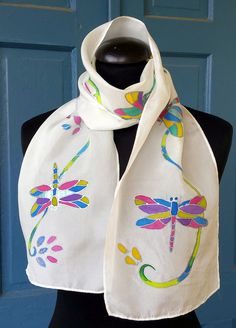 Beautiful Dragonfly silk scarf. Original art. by M Theresa Brown of onroadartists