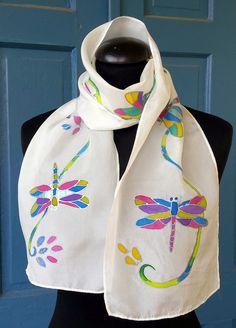 Beautiful Dragonfly silk scarf. Original art. by M Theresa Brown of onroadartists