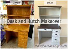DIY Furniture : DIY Desk and Hutch Makeover. Simple paint job can do wonders. Hutch Furniture, Desk Hutch, Retro Furniture, Repurposed Furniture, Furniture Makeover, Cool Furniture, Office Furniture, Furniture Design, Desk Redo
