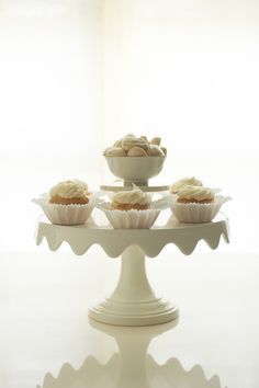 Martha Stewart for Macy's scalloped cake stand, Andie's Sweets candy, One Girl Cookie cupcakes