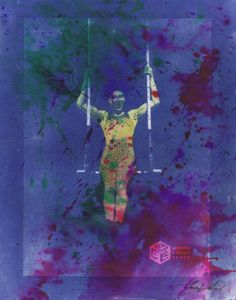 Original artwork: cyanotype monoprint with watercolor - The image is created from a trapeze performance in the April 2018 Skeleton Circus show. It is mounted on canvas board and sold unframed. This is part of a benefit series for Madison Circus Space. Circus Show, Cyanotype, Canvas Board, Skeleton, Giraffe, Original Artwork, Benefit, My Arts, Watercolor