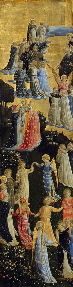 Paradise by Fra Angelico, 1435–1440. Tempera on panel. I like it because I can see I see the joy of those who go to heaven in the painting.
