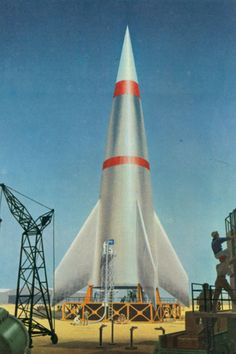 bonestell 3 stage rocket with satellite at the nose (white)