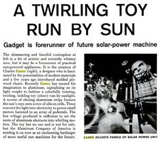 Where Are You Now: A Twirling Toy Run By Sun, Life Magazine March 24th, 1958