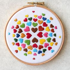 heart detail The Hearts embroidery kit is back in stock now The first batch was completely sold out. Its a perfect beginner level embroidery kit and makes a colourful home decor Grab Hand Embroidery Patterns Free, Diy Embroidery Kit, Hand Embroidery Videos, Embroidery Hearts, Embroidery Stitches Tutorial, Embroidery Flowers Pattern, Modern Embroidery, Embroidery For Beginners, Simple Embroidery Designs