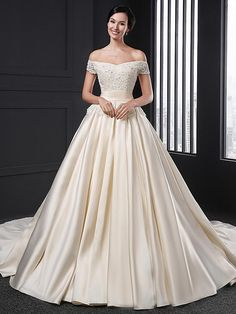 A-line Wedding Dress Chapel Train Off-the-shoulder Satin with Flower / Appliques - USD $279.99