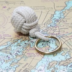 Mystic Knotwork: White Nautical Monkey Fist Key Chain #MarthaStewartAmericanMade