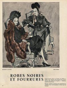 Louchel 1945 Lanvin & Bruyère, Black Dresses & Furs