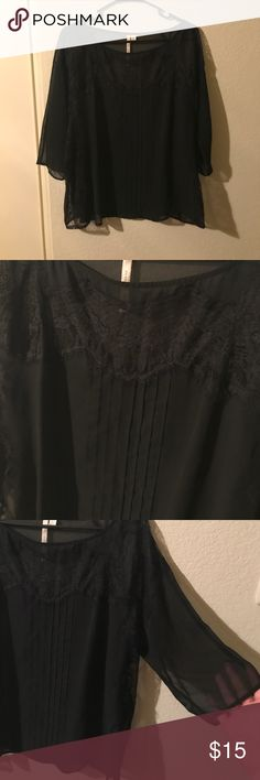 LC Sheer Lace Top Lauren Conrad Sheer Black lace top. It has elbow length sleeves and a beautiful lace design on the front. Very comfortable! LC Lauren Conrad Tops Blouses
