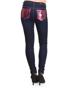 Baby Phat - Women Medium Wash Sequin Back Pocket Skinny Jean