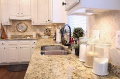 TiffanyD: Some progress in the kitchen... Benjamin Moore Clay Beige walls and my thoughts on white appliances...