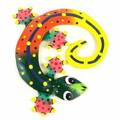 Hand Painted Round Metal Gecko Sunset Design - Caribbean Craft