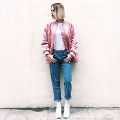 Discover the latest in women's fashion and men's clothing online. Shop from over styles, including dresses, jeans, shoes and accessories from ASOS and over 800 brands. ASOS brings you the best fashion clothes online. New Outfits, Casual Outfits, Pink Bomber, Topshop Jeans, Fashion Clothes Online, White Tees, Instagram Fashion, Spring Summer Fashion, Cool Style