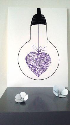 """Affiche Illustration ampoule """" Mon Coeur Est à Toi """" : Affiches, illustrations, posters par stefe-reve-en-feutrine"""