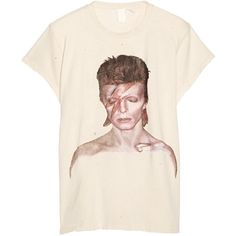 MadeWorn David Bowie Ziggy distressed printed cotton-jersey T-shirt (230 NZD) ❤ liked on Polyvore featuring tops, t-shirts, ecru, vintage style t shirts, destroyed t shirt, cotton jersey, pink tee and ripped tops