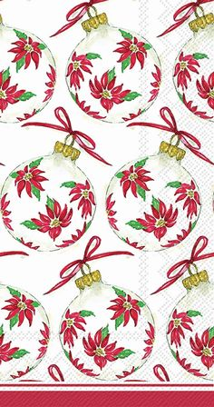 IHR Rosanne Beck Poinsettia Ornaments Christmas Floral Printed 3-Ply Paper Guest Towels Wholesale BF017300