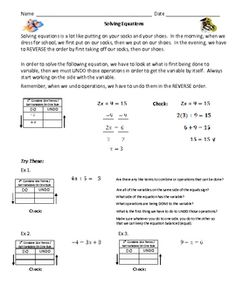 """Solving Two Step Equations - """"Do/Undo"""":  Students use the """"Do/Undo"""" method for solving equations with & without word problems. The first two pages are a guided practice/instruction/notes page. The final page is for independent practice."""