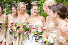 Bridesmaids in shimmering gold sequined dresses and holding bright flower bouquets, lovely combo. Metallic Bridesmaid Dresses, Sequin Bridesmaid Dresses, Beautiful Bridesmaid Dresses, Bridesmaid Flowers, Bridesmaids, Flower Bouquets, Bridal Bouquets, Wedding Headdress, Wedding Veils