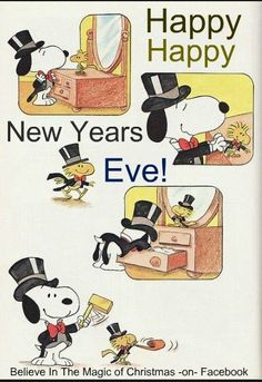 happy new years eve snoopy and woodstock preparing to go out and party on new