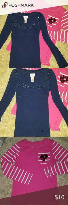 2 Tops Bundle Justice Navy long sleeves +Pink Justice -Excellent Condition no damages fits 5/6 Free cute pink top no stains no holes Justice Shirts & Tops Tees - Long Sleeve