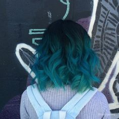 22 Popular Medium Hairstyles for Women 2017 - Shoulder Length Hair Ideas/blue hair/teal hair/color hair/ Hair Color Blue, Cool Hair Color, Dark Teal Hair, Ombre Colour, Blue Green Hair, Crazy Color Peacock Blue, Hipster Hair Color, Pastel Green Hair, Hair Goals Color