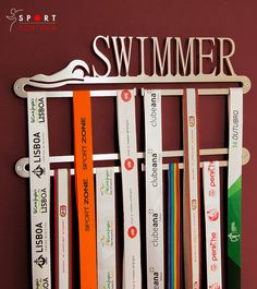 Swimmer medal display double hanger by SportContour on Etsy, $33.99