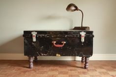Lucky Trunk Metal Storage Table -  Coffee Table or Stylish Storage - Hershey Brown Legs - One of a kind Home Decor. $225.00, via Etsy.