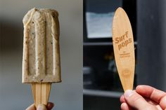 Thought for Food recently created Surf Pops. Inspired by California and its surroundings, they were made to help promote a local surf store pop-up. Gelato, Fruit Popsicles, Ice Ice Baby, Logo Restaurant, Ice Pops, Popsicle Sticks, Brown Paper Packages, Frozen Treats, Taste Buds