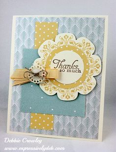 handmde thank you card ... yellow, white and blue ... luv the medallion using floral framelit and stamp from Daydream Medallions ... soft and sweet! ...Stampin' Up!