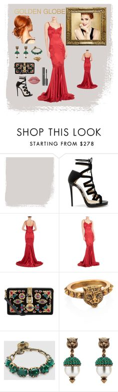 """""""Jessica Chastain's golden globe outfit"""" by naidenlewis ❤ liked on Polyvore featuring Jimmy Choo, Piaget, Dolce&Gabbana, Gucci, Lime Crime and Chanel"""