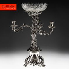 ANTIQUE 19thC VICTORIAN SILVER PLATED MAGNIFICENT CANDELABRA / CENTREPIECE c1880