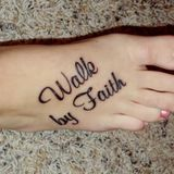 I want to copy this tattoo, except not on my foot, on my rib cage, the whole verse, a little bigger.