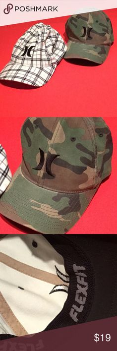 2 Hurley Flexfit Baseball Caps, Yupoong Offered is this very gently used Lot of 2 Hurley Flexfit Baseball Caps, Camo + Black White Check/Plaid Yupoong One size Very nice clean condition, hardly used, Flexfit for a perfect fit Green camouflage 98% Cotton 2% Spandex Yupoong Black and white check 64% Polyester 34% Rayon, 2% Spandex Yupoong Hurley Other
