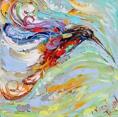 Karen Tarlton: 6x6 Whimsical Animal paintings - Hummingbird - Horse by Karen Tarlton
