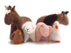 Farm animals, waldorf farm animals, eco friendly farm animals, waldorf toys, child's toy