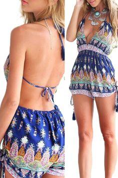Halter V-neck Backless Print Jumpsuit Short