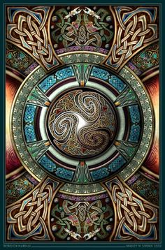 Celtic knotwork Triskelion Mandala by artist Barry W Schenck. Celtic Symbols, Celtic Art, Celtic Knots, Celtic Dragon, Mayan Symbols, Egyptian Symbols, Ancient Symbols, Celtic Patterns, Celtic Designs