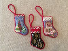 Micro mini stocking ornaments ~ Canvas designs by Associated Talents