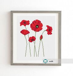 Poppies cross stitch patternmodern pattern PDF DIY