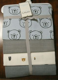 Carter/'s Baby Animal Swaddle Blankets 2pk Navy Blue White Safari Cotton Boys NWT