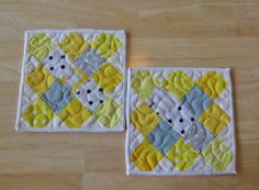 These vibrant yellow and gray quilted items are really two items in one. Small enough to be used as mug rug coasters but large enough that they