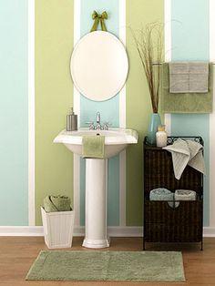Perfect for guest bathroom. Matches our decor already!  Decor Design: Vertical Bathroom Stripes