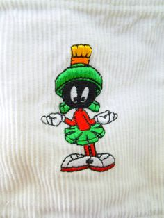 Marvin Martian Shirt Corduroy White Long Sleeves Medium Looney Tunes Warner Bros #WarnerBrothersStudioStore #ButtonFront