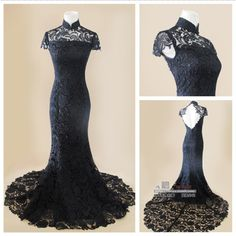 Angel Bridal New Arrival Black Lace Evening Dresses Prom Formal Gown Mermaid Sex Backless Height Neck  Long Design With Train $159.00