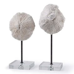Pair of mushroom coral accessories by Regina Andrew.