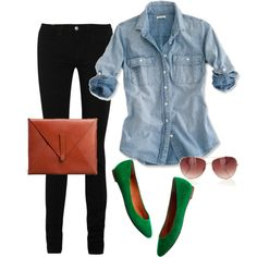 Great Casual Friday look.  Black skinnies.  Denim shirt.  Green flats. Clutch. Sunglasses