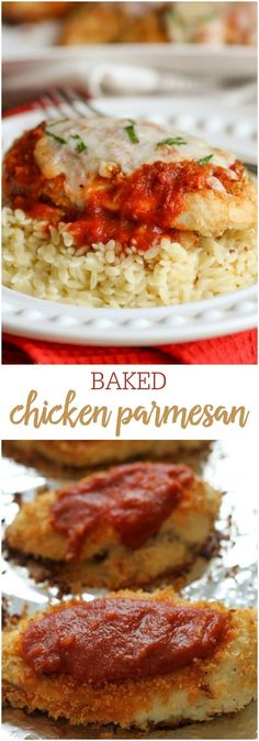 Easy Baked Chicken Parmesan - one of the yummiest and easiest dinner ideas you'll ever try! Chicken breaded with bread crumbs and parmesan, baked and topped with sauce and cheese! Chicken Parmesan Recipes, Best Chicken Recipes, Easy Baked Chicken, Breaded Baked Chicken, Kfc, How To Cook Pasta, Italian Recipes, Italian Foods, Rice