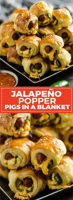 Jalapeno Popper Pigs in a Blanket. These spicy, cheesy appetizers are perfect for your next party or game day!   hostthetoast.com